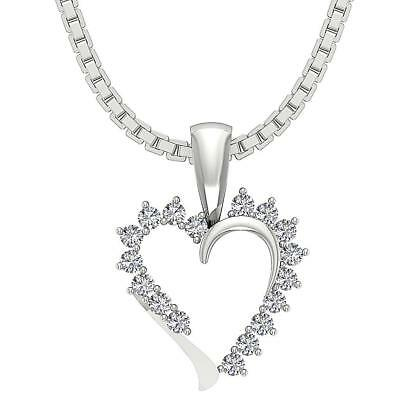 Heart Pendant Necklace Real Diamond SI1H 0.30Ct Prong Set White Yellow Rose Gold