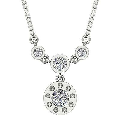 SI1 H Fashion Pendant Necklace 0.55Carat Round Cut Diamond 14Kt Solid White Gold