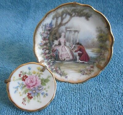 2 vintage LIMOGES porcelain DISPLAY PLATES - romance courting couple & flowers