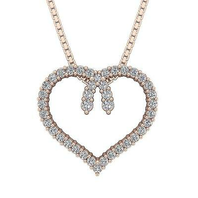 Genuine Diamond Heart Pendant Necklace I1 H 0.50Ct Prong Set Rose Gold 0.62Inch
