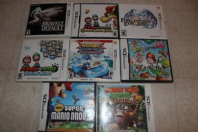 Lot of 8 Nintendo 3DS Game Cartridge Cases-EMPTY W/ Manual-NO GAMES