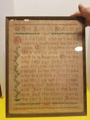 Vintage Antique Lords Prayer Sampler found in barn All Original framed