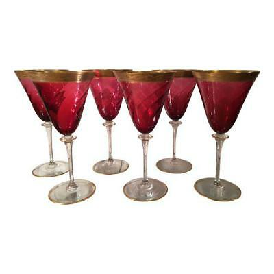 Antique Gold Encrusted Cranberry Crystal Wine Stems by Moser - Set of 6