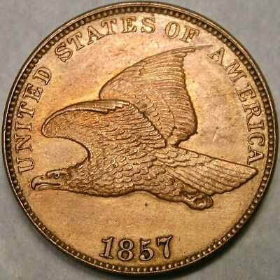 1857 Flying Eagle Cent/penny Snow #12 High Quality Scarce Tdo Triple Die Obverse