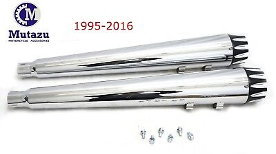 MUTAZU Chrome MF-31 Megaphone Slip-On Mufflers Exhaust 95-16 Harley Touring 4