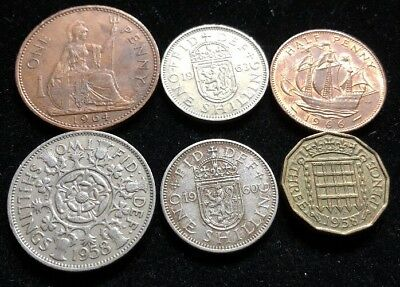 Six Assorted Great Britain Coins Lot MH2