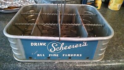 Rare! Drink Scheerer's All Fine Flavors Metal Coke  Bottle Carrier-Grand Rapids