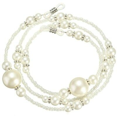 White Pearl Beaded Eyeglass Spectacle Glasses Chain Neck Cord Lanyard Holder New