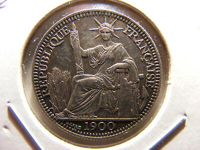 French Indo China 1900-A, Silver 10 Centimes, KM#9, Choice XF
