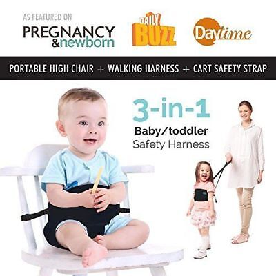 Portable High Chair Seat 3-in-1 Travel Toddler & Baby Safety Harness+Space Saver