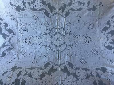"""VINTAGE LACE TABLE CLOTH  CREAM COLOR Rectangular 68""""by 52"""""""