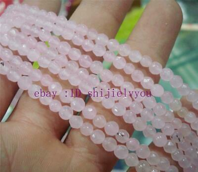 Beautiful 4 mm Pink jade beads faceted gemstone loose beads 15 ""