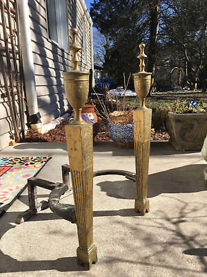 """Period Neoclassic Brass Fluted English Urn Topped Andirons Missing Part 22"""" Tall"""