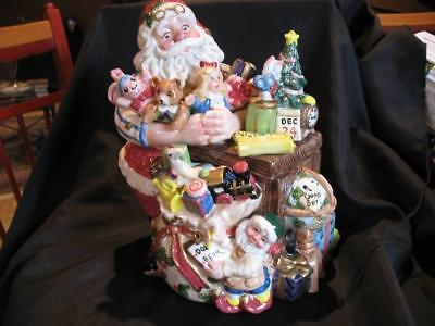 Fitz And Floyd Santa's Magic Workship Cookie Jar Perfect