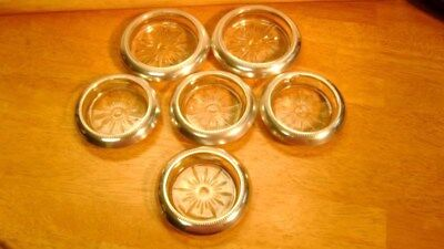 B - i STERLING SILVER & GLASS Drink Coasters Sun Burst Pattern 2 sizes 6 pieces