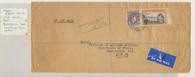 """Nigeria 1949 Reg. Airmail Cover To Usa, Reg """"lagos/3"""" Not In Proud(See Below)"""