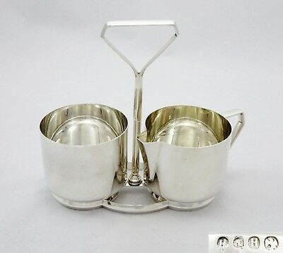 Quality Vintage Hukin And Heath Silver Plated Art Deco Mirror Finish Cream Sugar