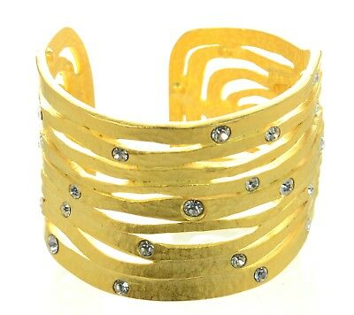Kenneth Jay Lane KJL Hammered Gold-tone Crystal Cuff Bracelet