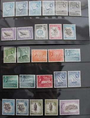 ADEN 1953 QEII Fine MINT Run of of 25 Values to 20s Shades