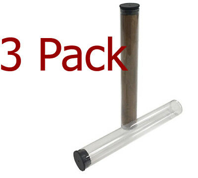 "3 Pack Acrylic Plastic Clear Travel Cigar Test Tube 7"" X 1"" x 58 Ring IN STOCK"