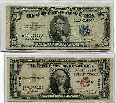 Docs Unique Currency Combo: Includes $1.00 Hawaii Note +$5.00 Silver Certificate