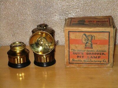 Miners GUY'S DROPPER CARBIDE LAMP with ORIGINAL BOX & Xtra Bottom! NOS