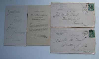 2 Antique 1890 Clothing Catalogs W/ 2 Envelopes 1 Letter Keep Mfg. Co. N.y.