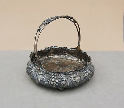 "Simpson Hall & Miller Quadruple Silverplate Brides Basket Grape Antique 6"" Diam."