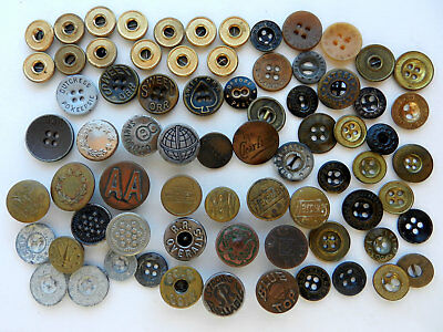 Lot Antique Vintage Pants/Overall Metal Buttons Sweet Orr Railroad and Military