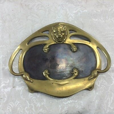 Antique Vintage Brass Pen Tray Dish Lion Duo Tone Real Bronze