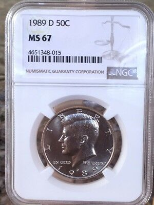 1989-D Kennedy Half NGC MS 67 * Price Guide $145 - Rare! *