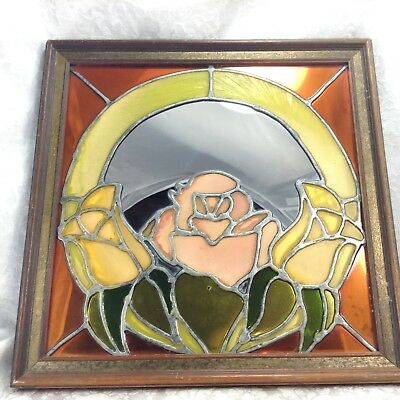 Stained Glass Wood Framed Floral Flower Wall Mirror Vintage Art Nouveau Panel