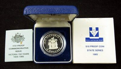"""1985 """"State Series"""" Victoria 150 Years $10 Silver Proof Coin - RAM OGP"""