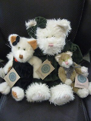 "BOYDS BEARS Lot of 3! Cats LARGE 16"" Kitty, Millicent Catherine KITTENS CAT"