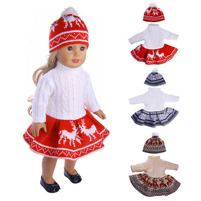 18 inch Doll Clothes fits American Girl - 3 pc Red Snowflake Sweater Outfit