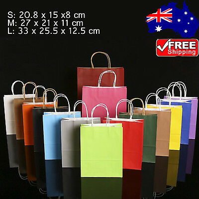 10-100pcs Party Bags Kraft Paper Gift Bag With Handle Recyclable Shop Loot Bag