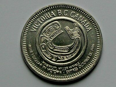 Victoria BC Canada 1986 Trade DOLLAR Token with Kwakiutl Killer Whale Native Art