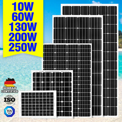 12V 250W 200W 130W Solar Panel Mono Caravan Camping Home Battery Charging Power