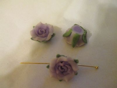 50 ~16 mm  Two Tone Lavender Clay Flower Beads      F74