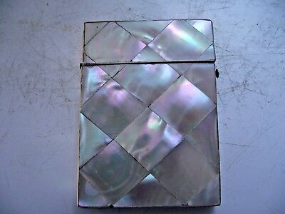 Antique Card Case Mother Of Pearl Real Shell Good See Pictures