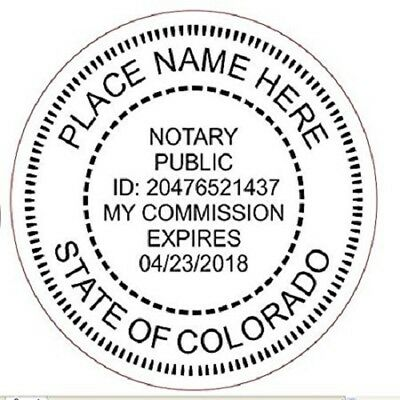 State of COLORADO  | Custom Round Self-Inking Notary Public Stamp Ideal 400R