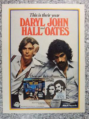 1977 Daryl Hall and John Oates Vintage Magazine Ad Page - Pop Rock Music Albums