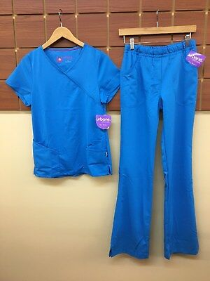 NEW Urbane Ultimate Blue Solid Scrubs Set With XS Top & XS Tall Pants NWT