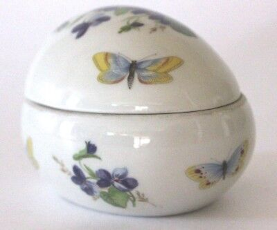 Vintage Limoges J.POUYAT France Egg Shape Butterflies Ipheion Porcelain Trinket