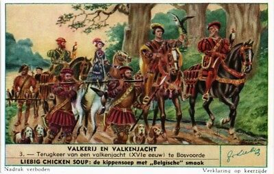 Collectible Advertising Liebig Card Falcon And Falconry Return Falcon Hunt