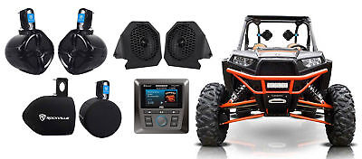 MTX Marine Receiver w/ Bluetooth SiriusXM+Dash+Tower Speakers For RZR/ATV/UTV