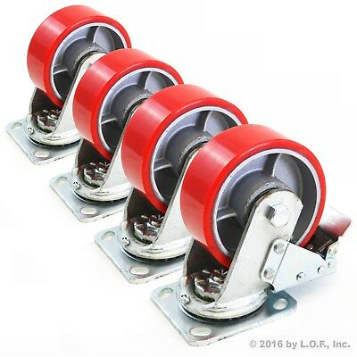 "4) Red 5"" Heavy Duty Wheel Caster Swivel Brake Iron Hub Casters No Mark Non Skid"