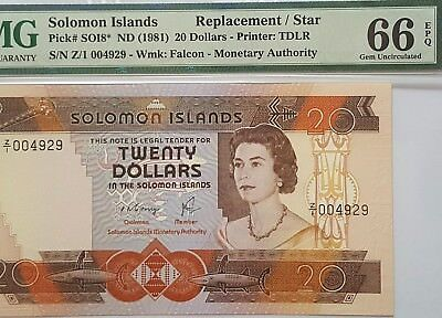 Solomon Islands-Replacement Z/1-20$-1981*pmg 66 Epq Gem Unc*single Finest Known*