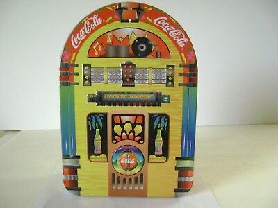 """1998 COCA-COLA COLLECTIBLE JUKEBOX """"ALWAYS ROCKIN """" Tin With Removable Lid"""