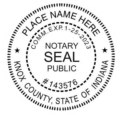 State of Indiana  | Custom Round Self-Inking Notary Public Stamp Ideal 400R